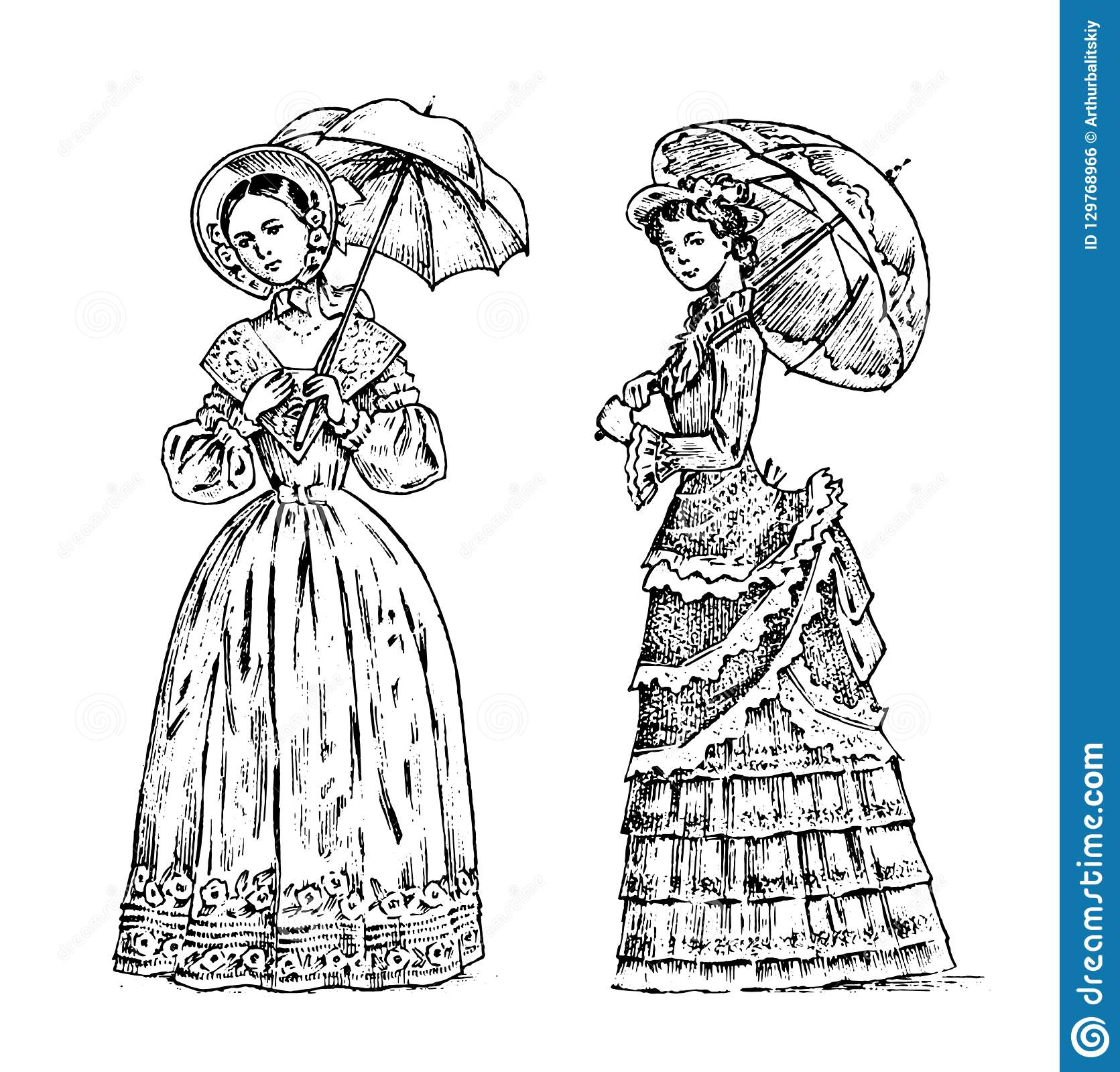 Antique ladies. Dame with umbrella. Victorian epoch. Ancient Retro Clothing. Women in Ball lace dress. Vintage engraving