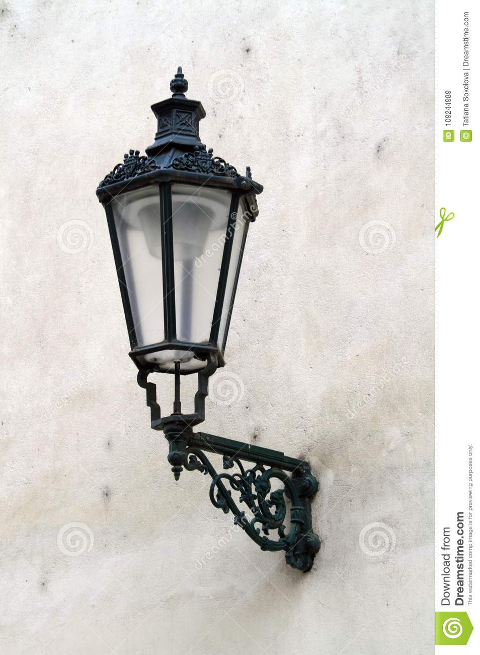 Antique lantern on the white wall of the house stock image image royalty free stock photo arubaitofo Gallery