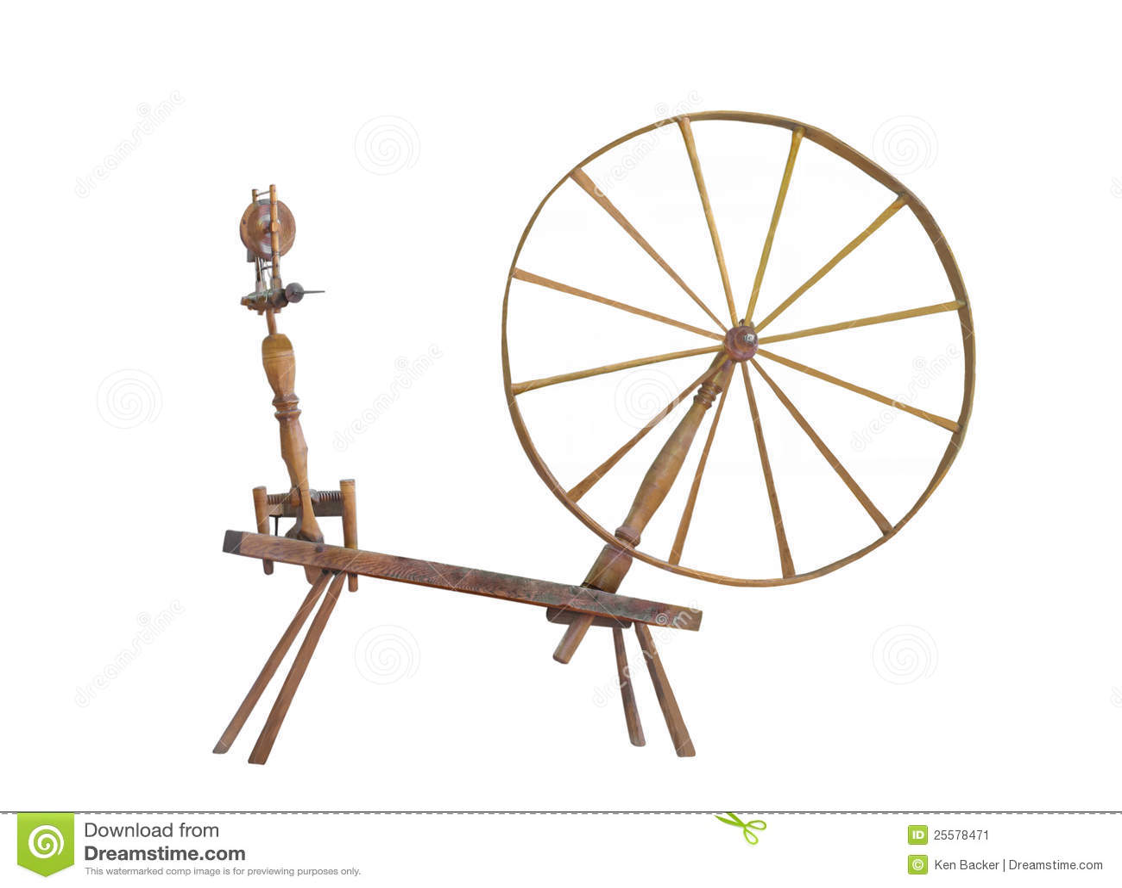 Antique Large Wheel Spinning Wheel Isolated Stock Image