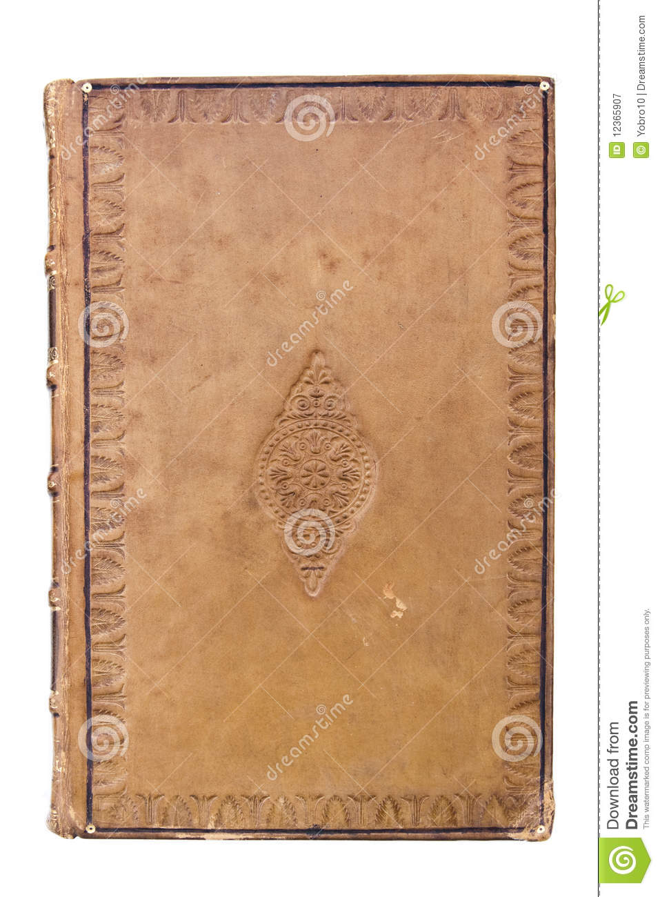 Leather Covered Book : Antique leather book cover stock image of