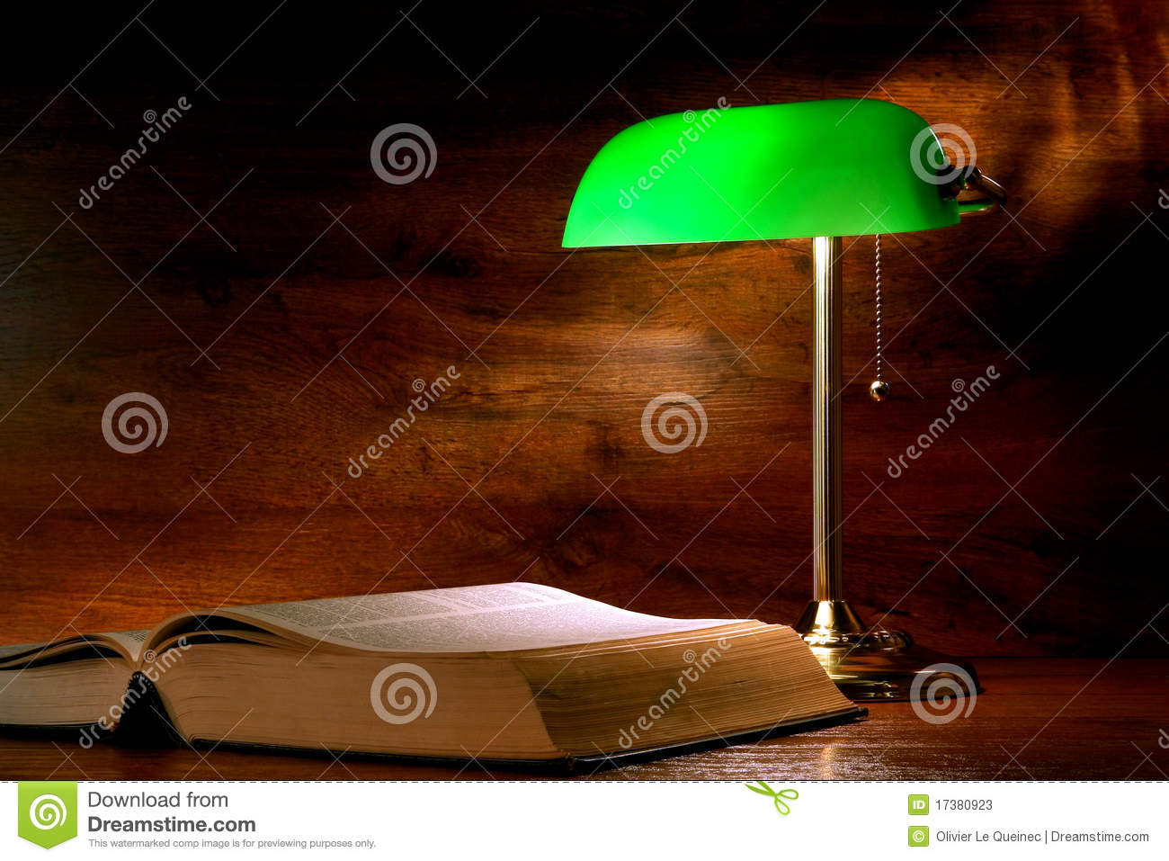 Antique Library Study Book And Old Banker Lamp Stock Image ...