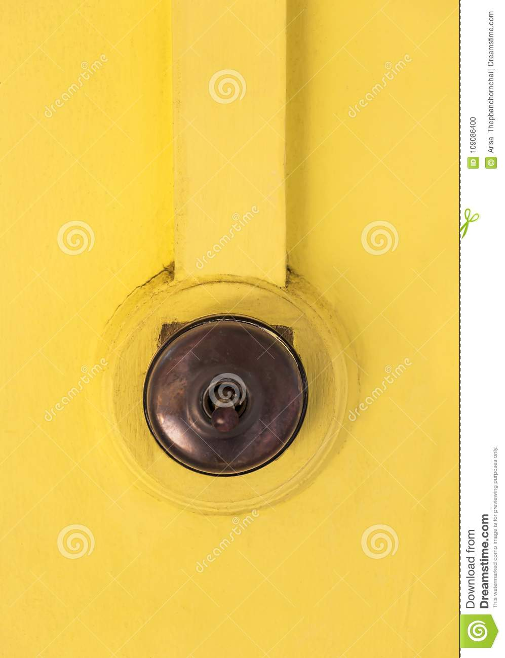 Antique Light Switch On The Old Wooden Wall Yellow Color Isolate