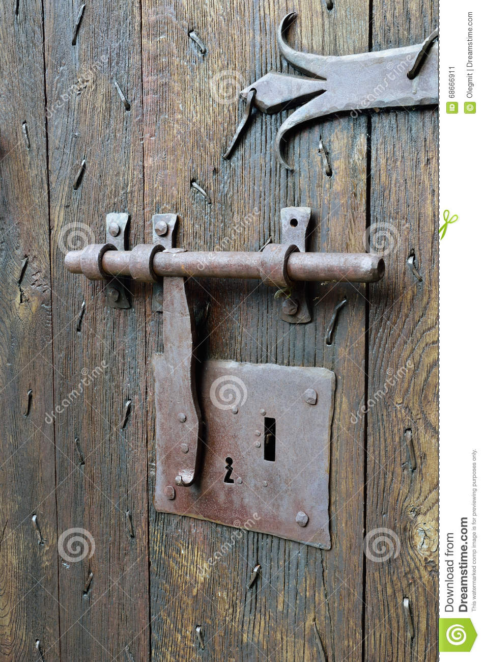 Antique lock with a hasp on the timber entrance stock - Old fashioned interior door locks ...