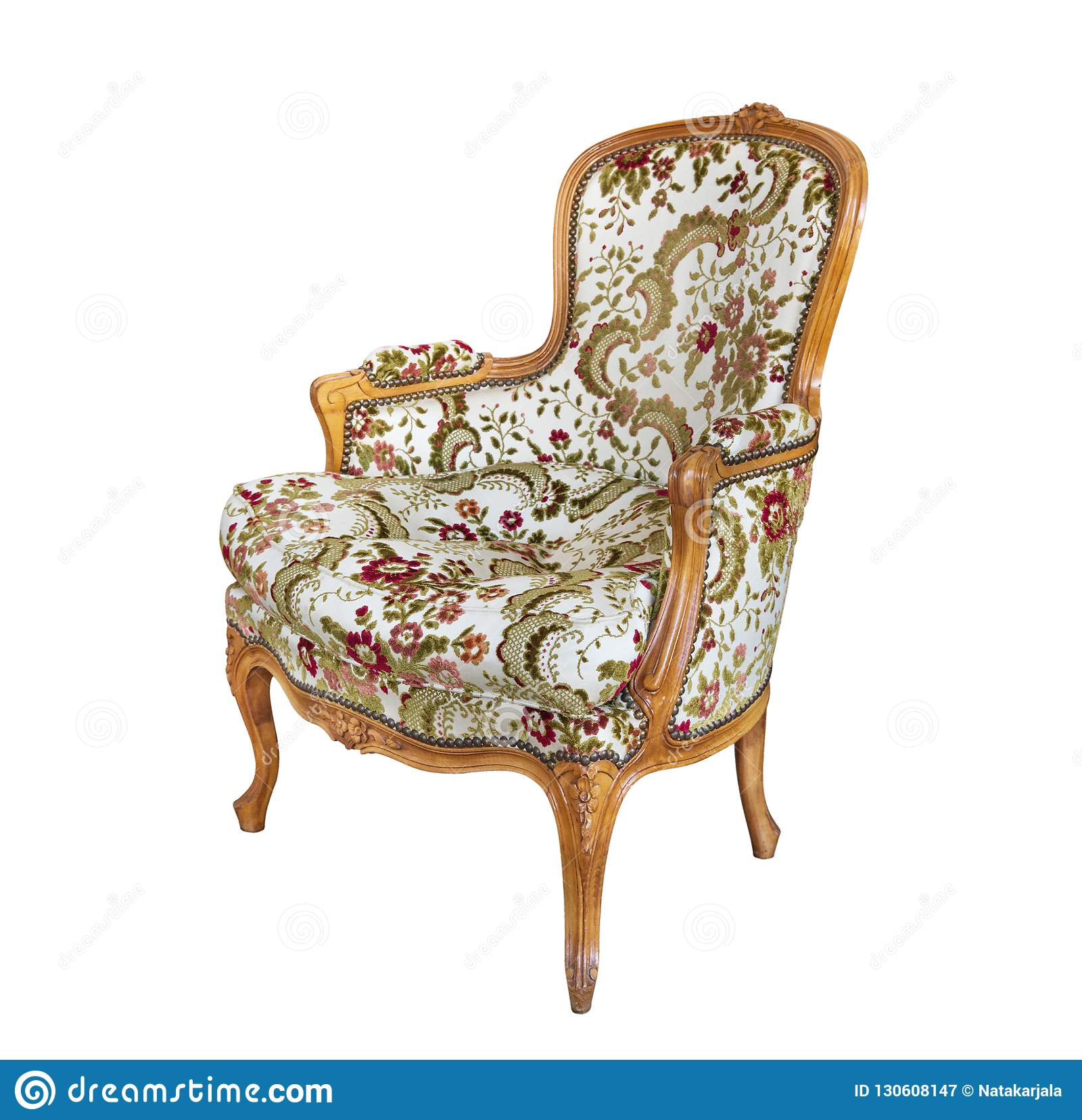 Antique Armchair With Upholstered Fabric And Wood Trim Isolated On
