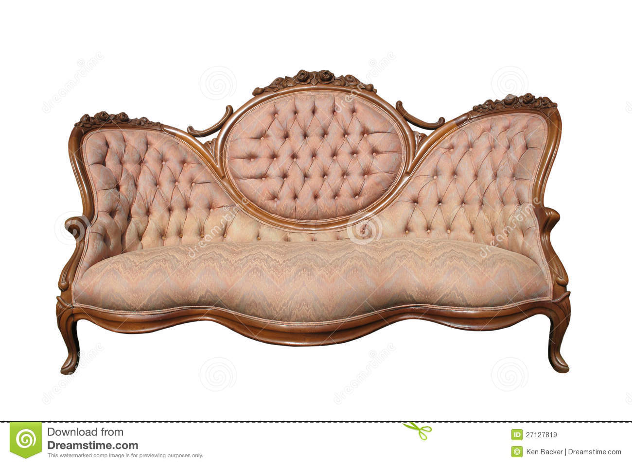 Antique luxury pink fabric sofa isolated stock image - Tela para sofa ...