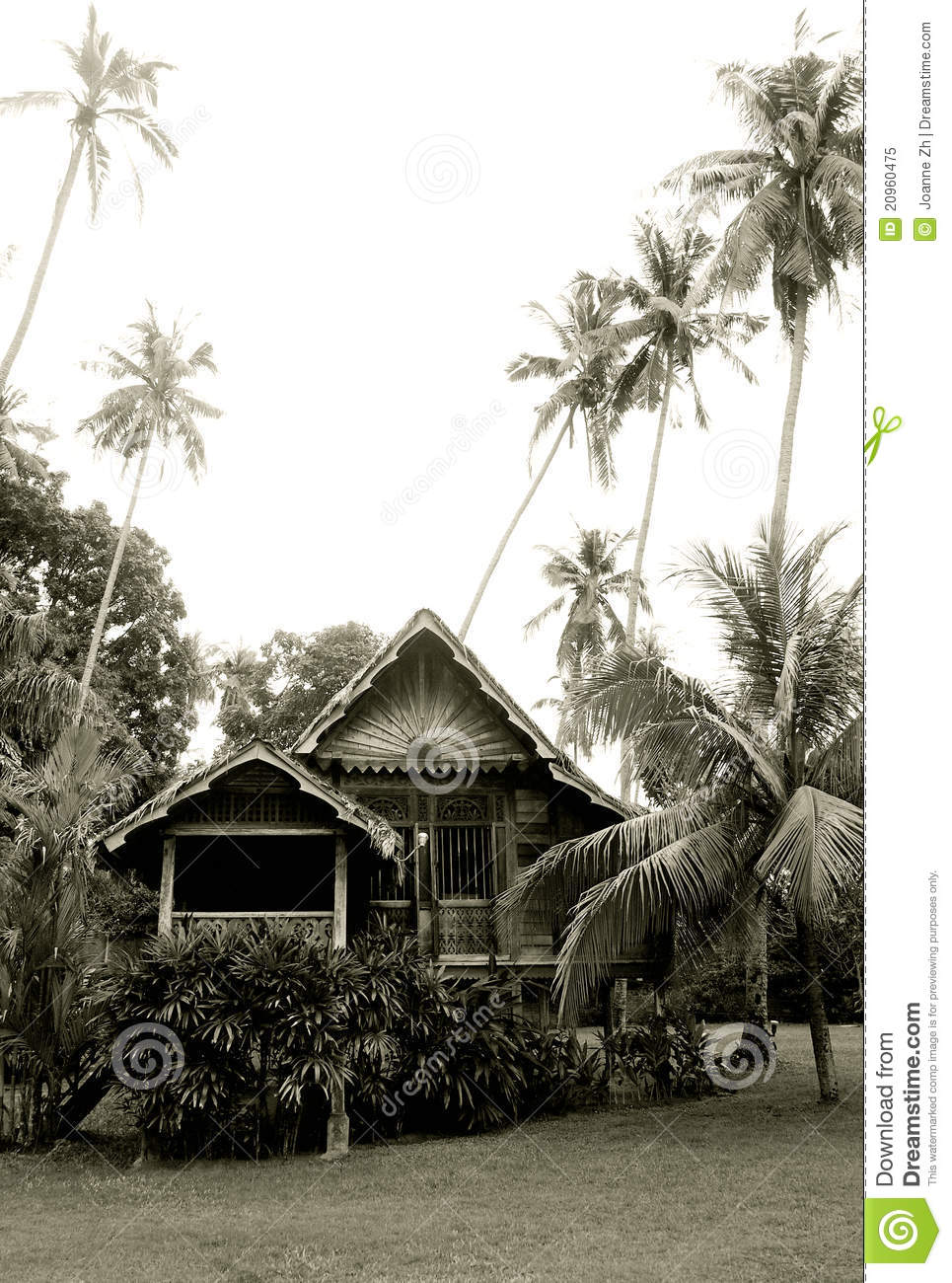 Antique Malaysian Rural Wooden House Royalty Free Stock