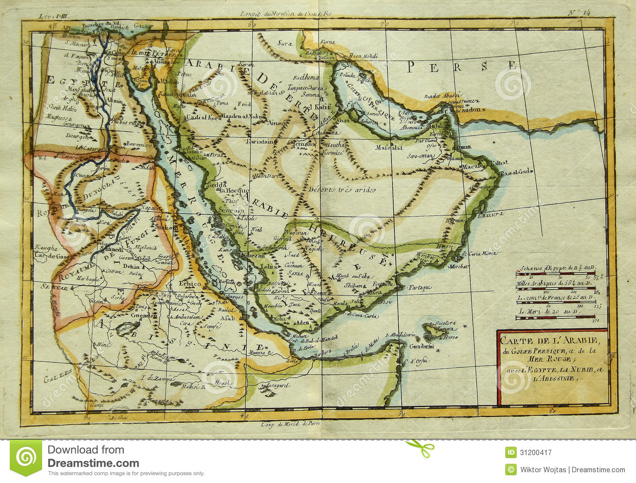 Middle East Map Arabian Peninsula.Antique Map Of Arabian Peninsula Eastern Africa Stock Image