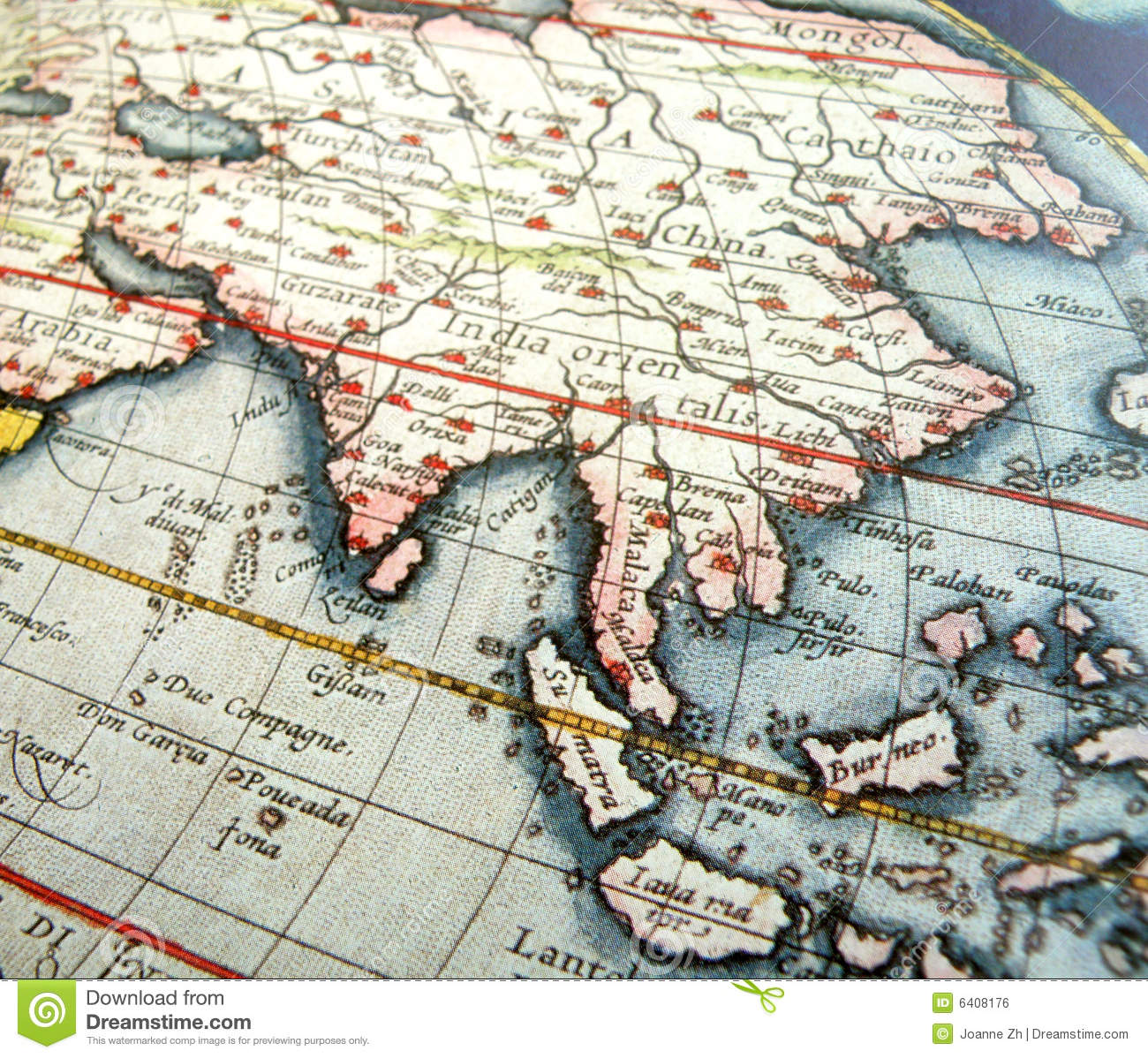 Map Of Asia Equator.Antique Map Of Asia Stock Photo Image Of Longitude Continents