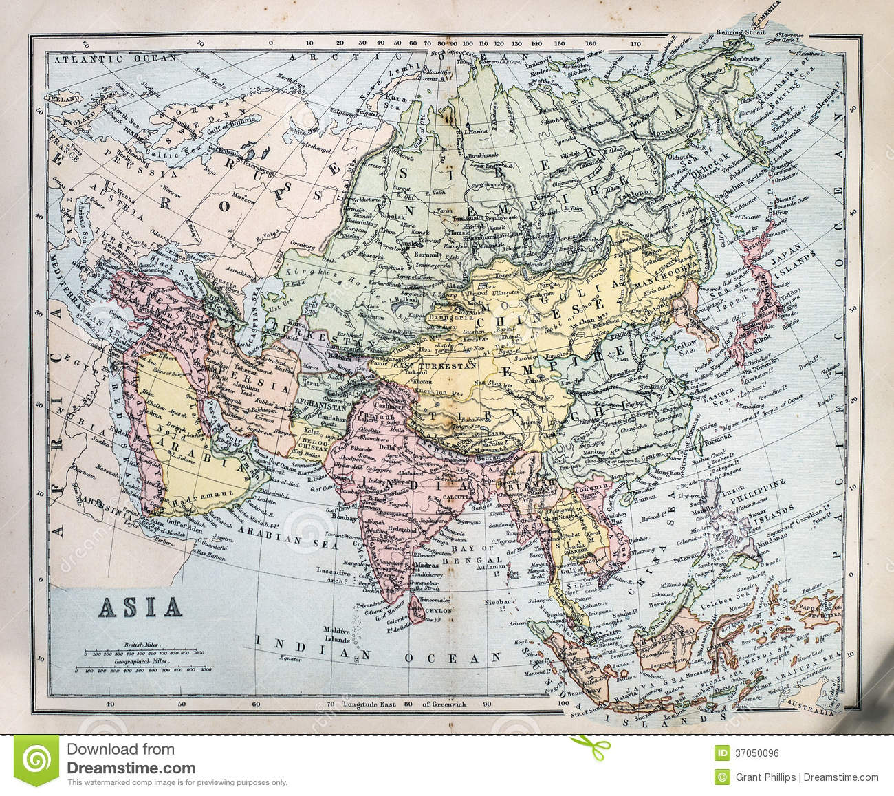 Map Of Victorian England.Antique Map Of Asia Stock Photo Image Of Japan Cartography 37050096