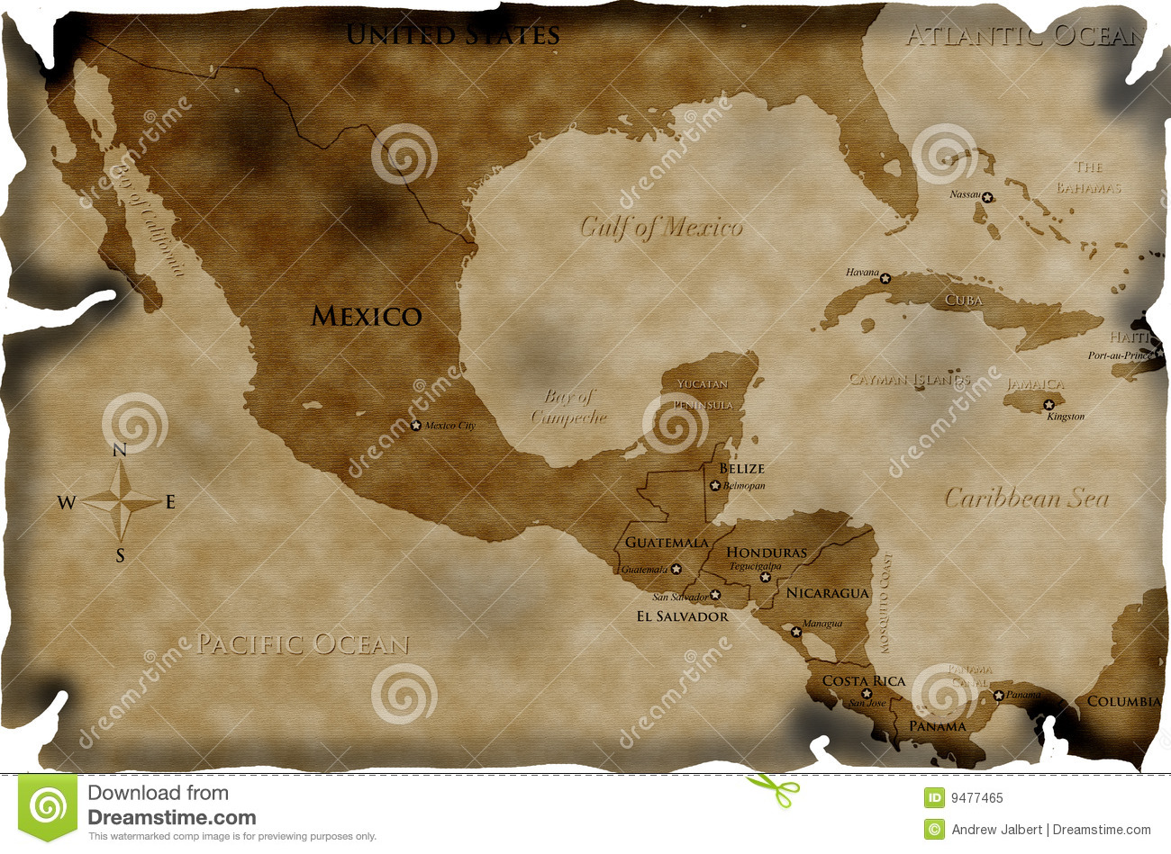Antique Map Of Central America Royalty Free Stock Photo ...