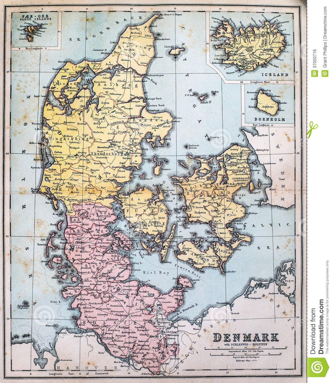 antique map of denmark royalty free stock image image 37050716