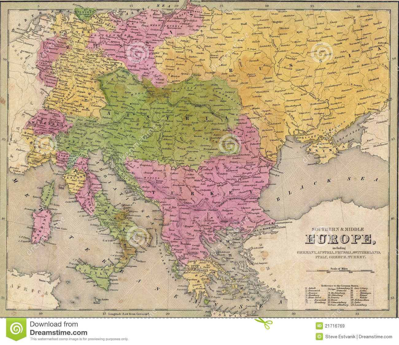 Antique Map Of Eastern Europe Stock Illustration ...