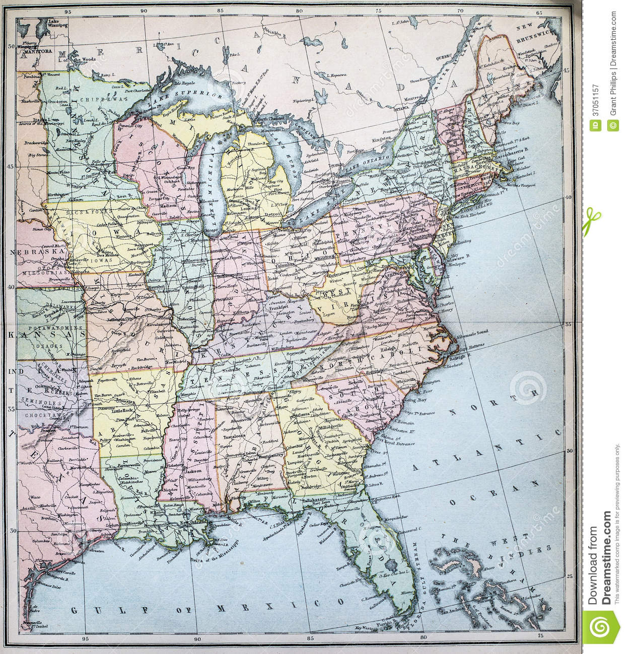 Antique Map Of Eastern States Of USA Stock Image - Image of eastern ...