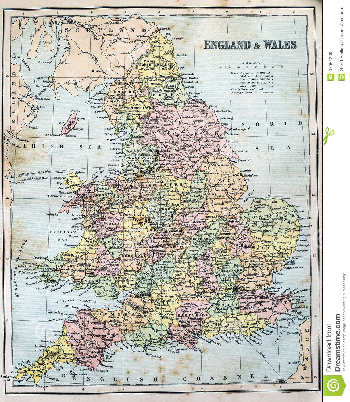 Map Of England And Wales.Antique Map Of England And Wales Stock Image Image Of Century