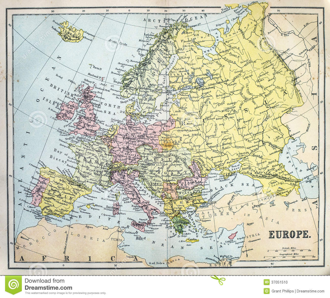 Antique Map of Europe stock photo. Image of europe, history   37051510