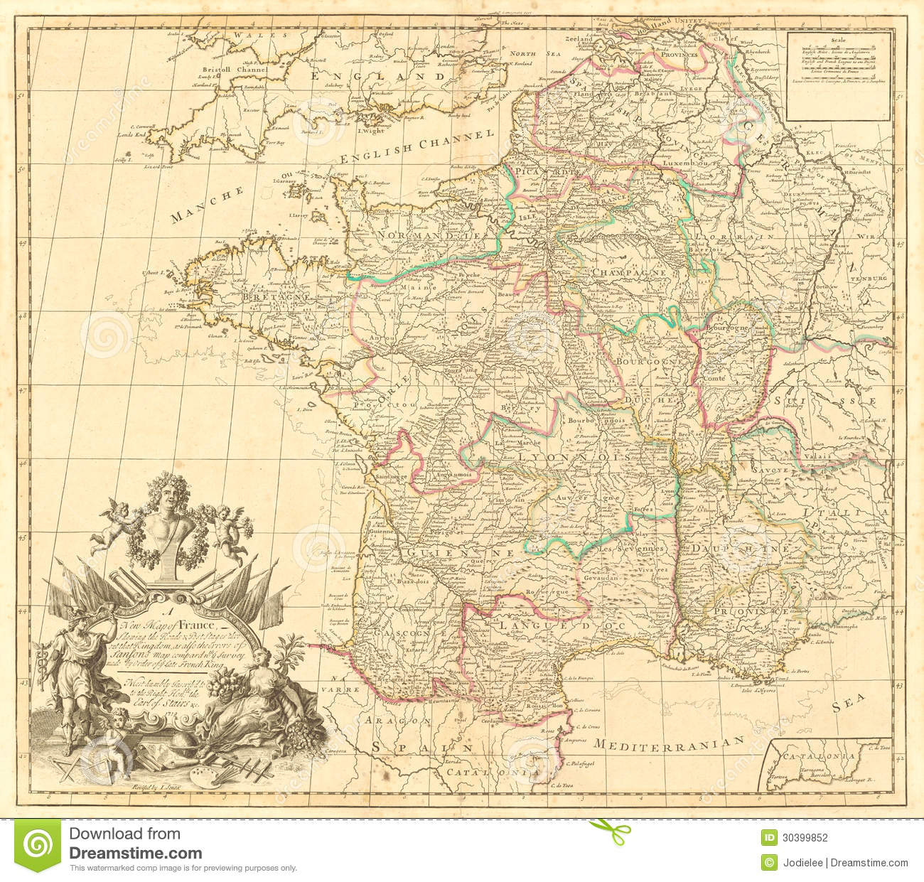 English Map Of France.Antique Map Of France Stock Photo Image Of Yellowing 30399852