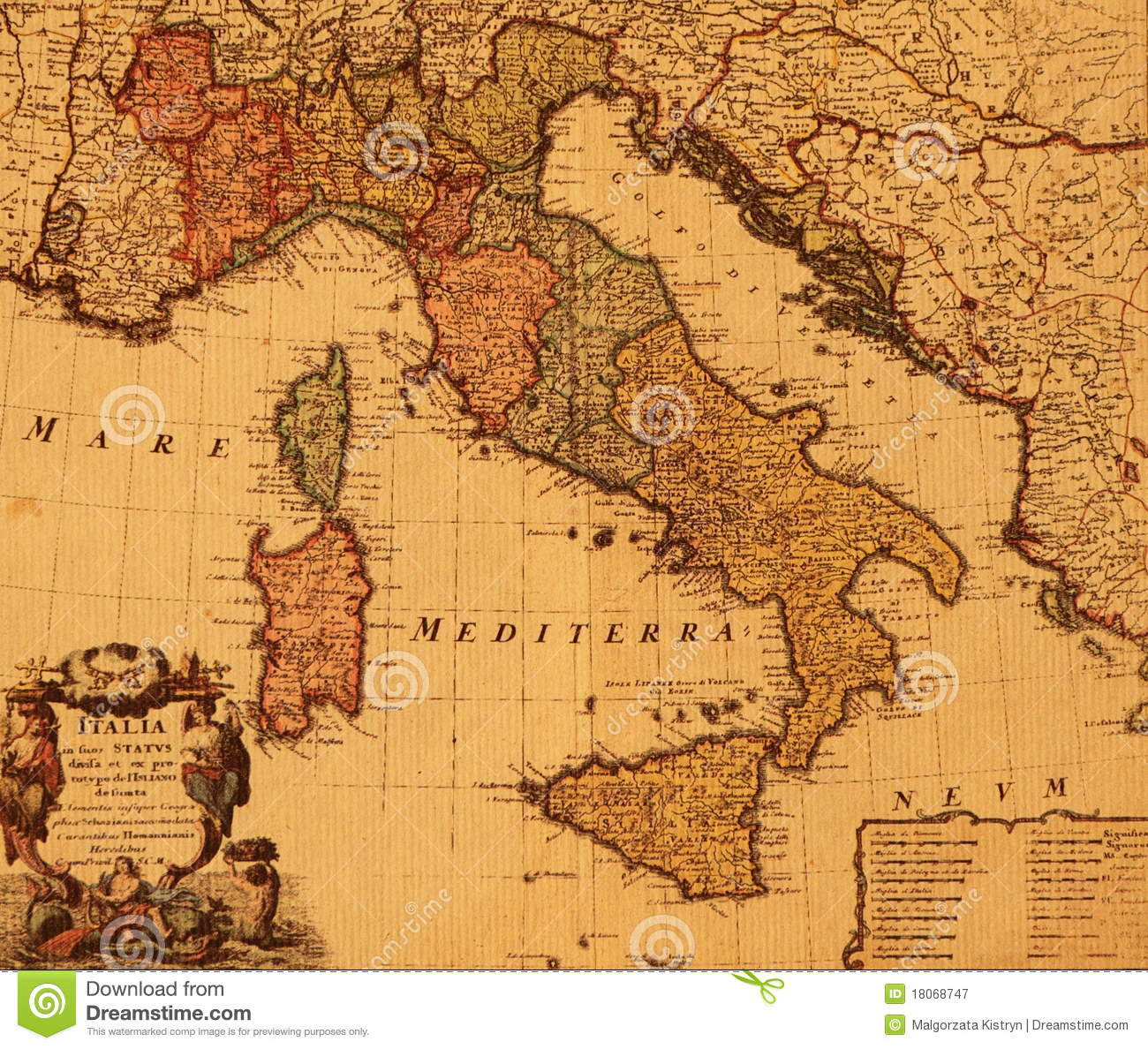 antique map of italy stock image image of atlas cartography 18068747. Black Bedroom Furniture Sets. Home Design Ideas