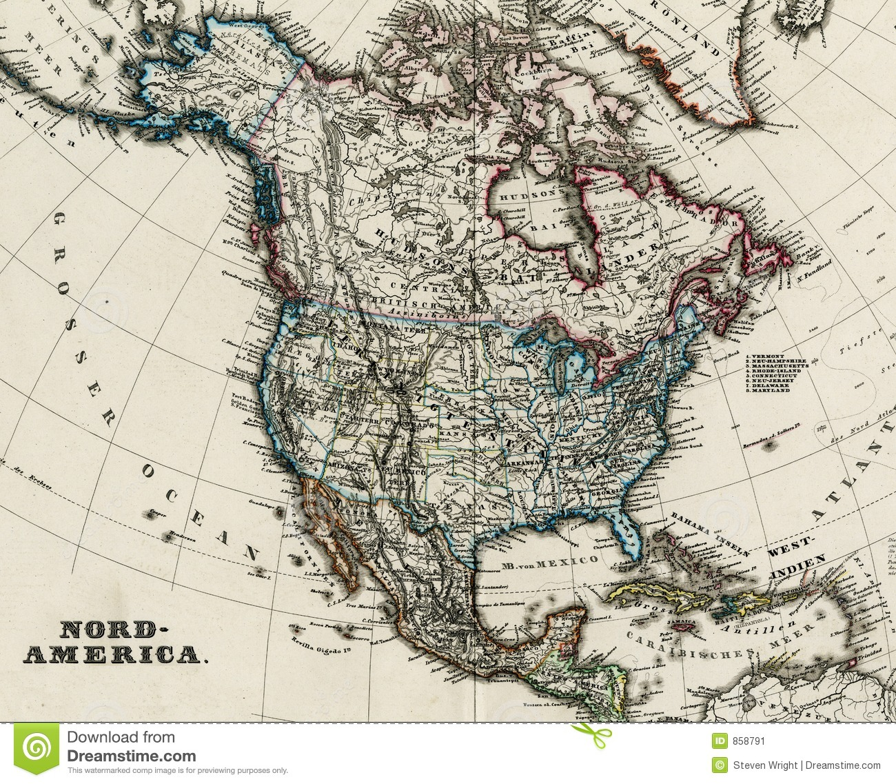 Antique Map Of North America  Stock Image Image - Map of n america
