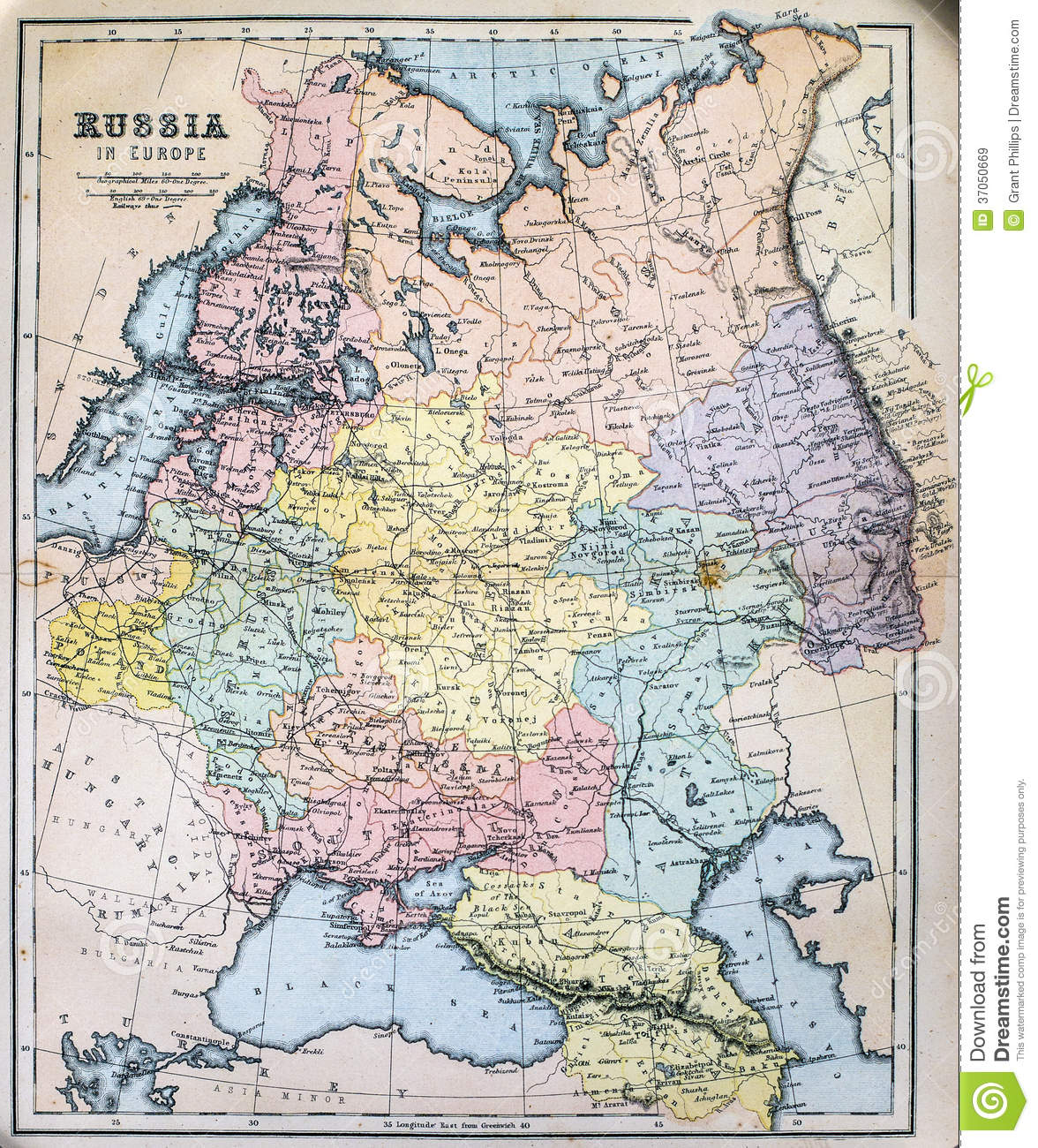 Antique Map Of Russia In Europe Stock Image Image Of 19th Mapping