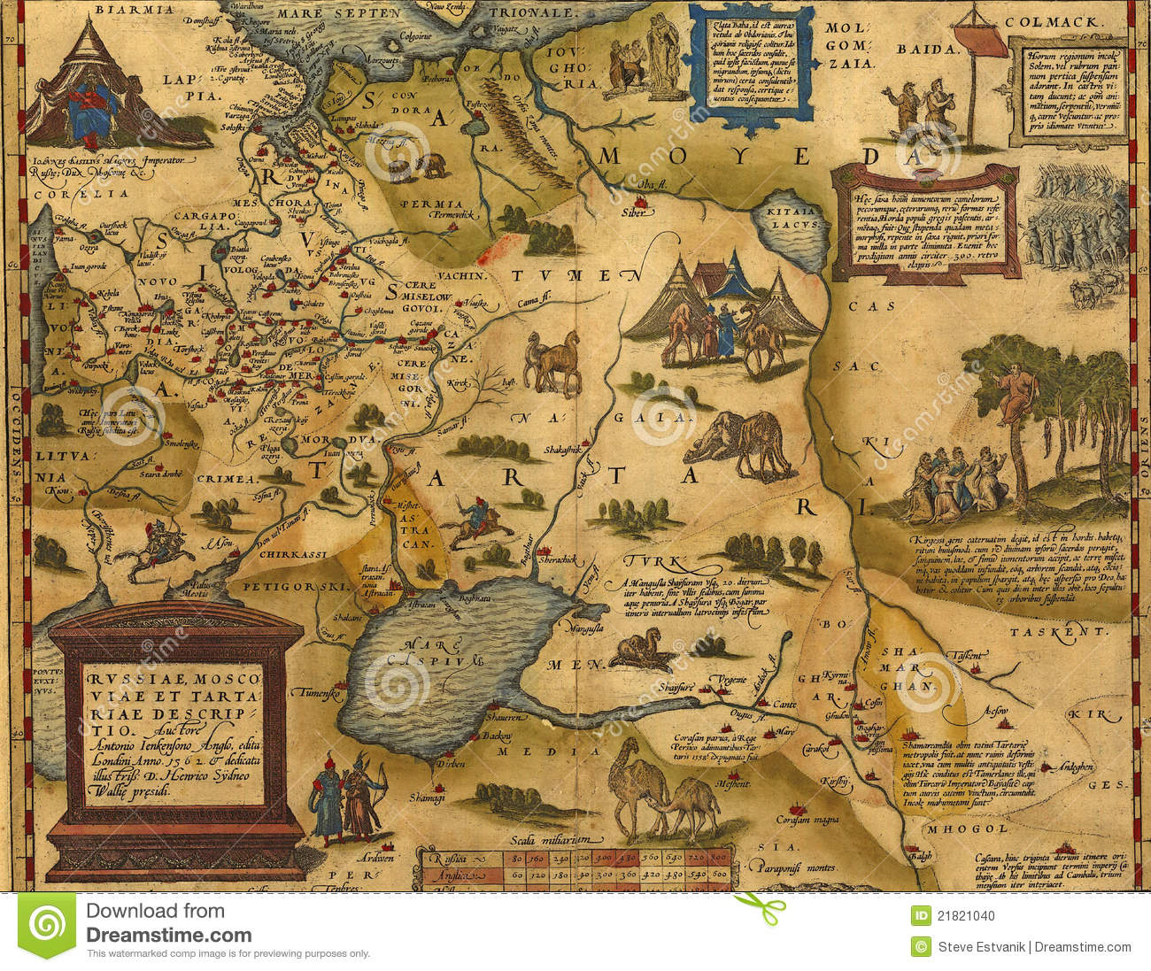Antique Map Of Russia And Tartary Stock Illustration Illustration