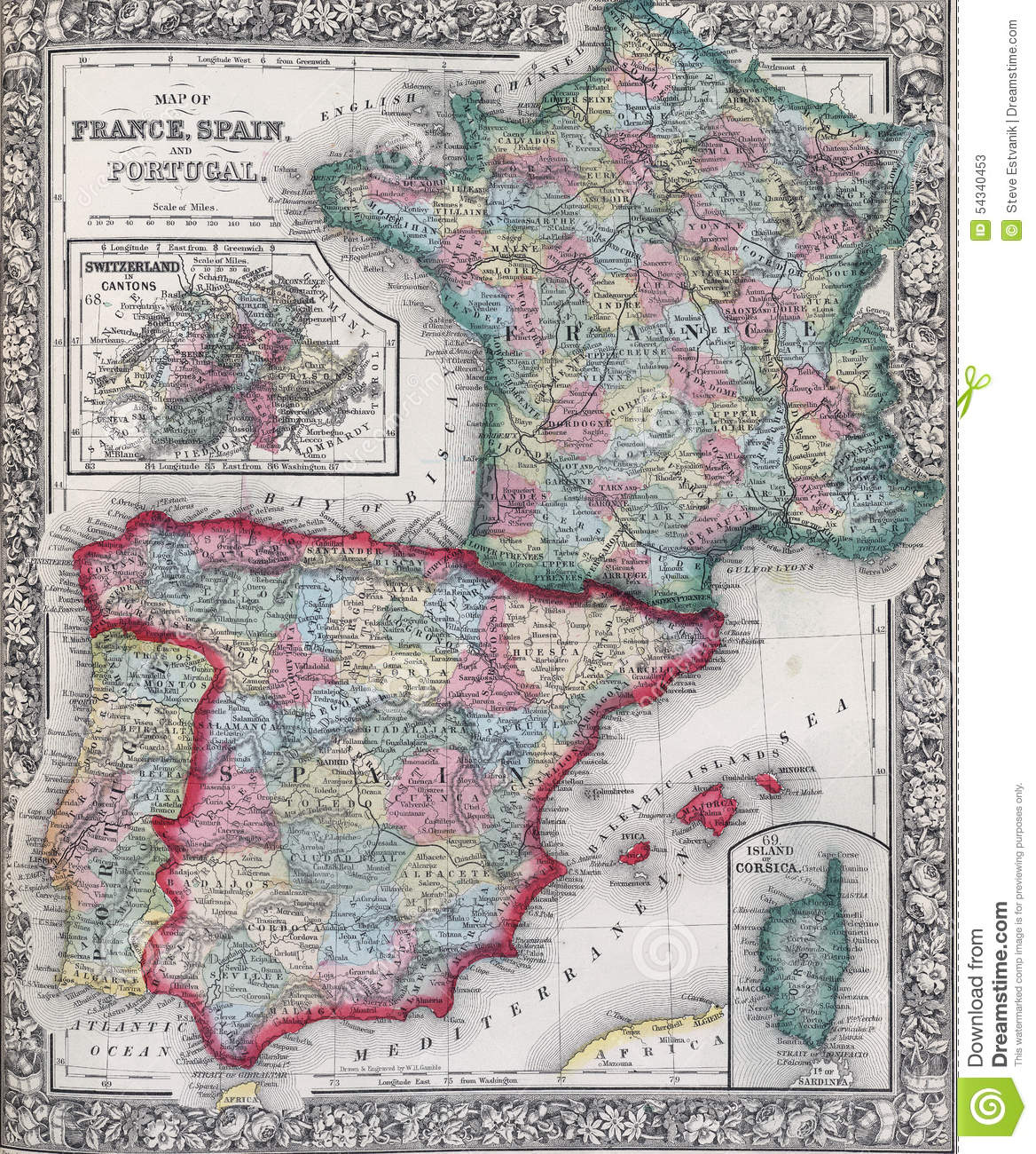 Map Of Spain Portugal And France.Antique Map Of Spain France And Portugal Stock Image Image Of