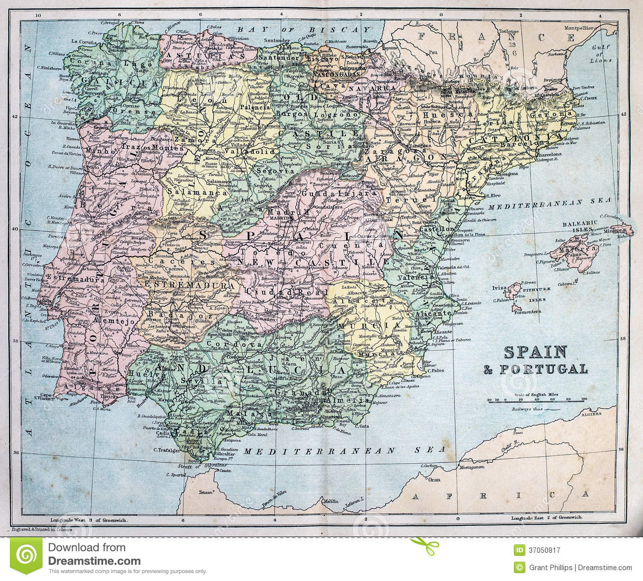 Map Of Spain Geography.Antique Map Of Spain And Portugal Stock Image Image Of Geography