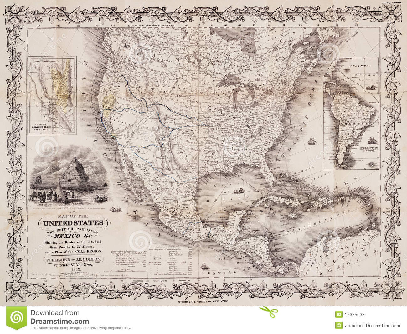 Antique Map Of The USA And The Americas Stock Photos Image - Antique us map