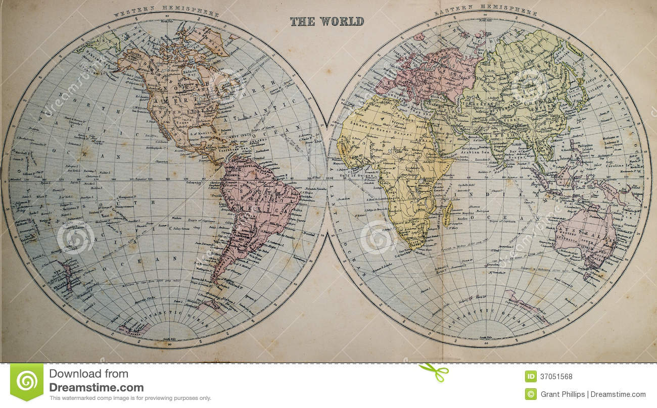 Antique Map Of World Stock Photo Image Of Europe Th - Victorian world map