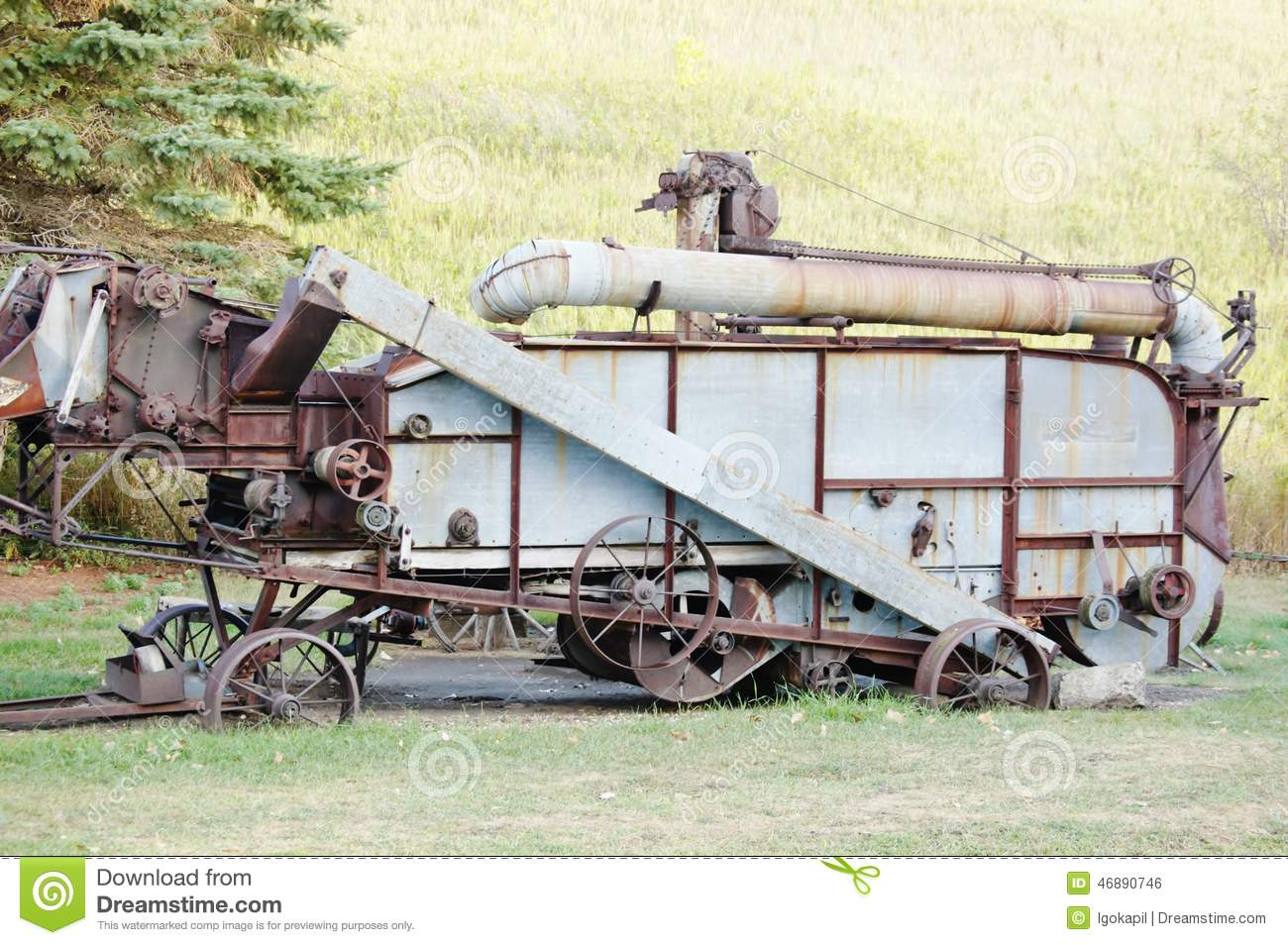 Antique Combine Harvester North Dakota Stock Photo - Image