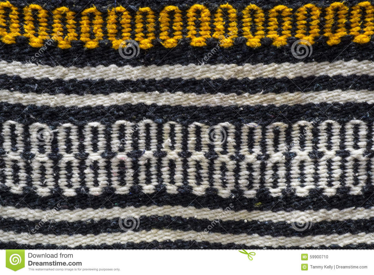 Patterns On Old Blanket With Geometric Shapes And Symbols