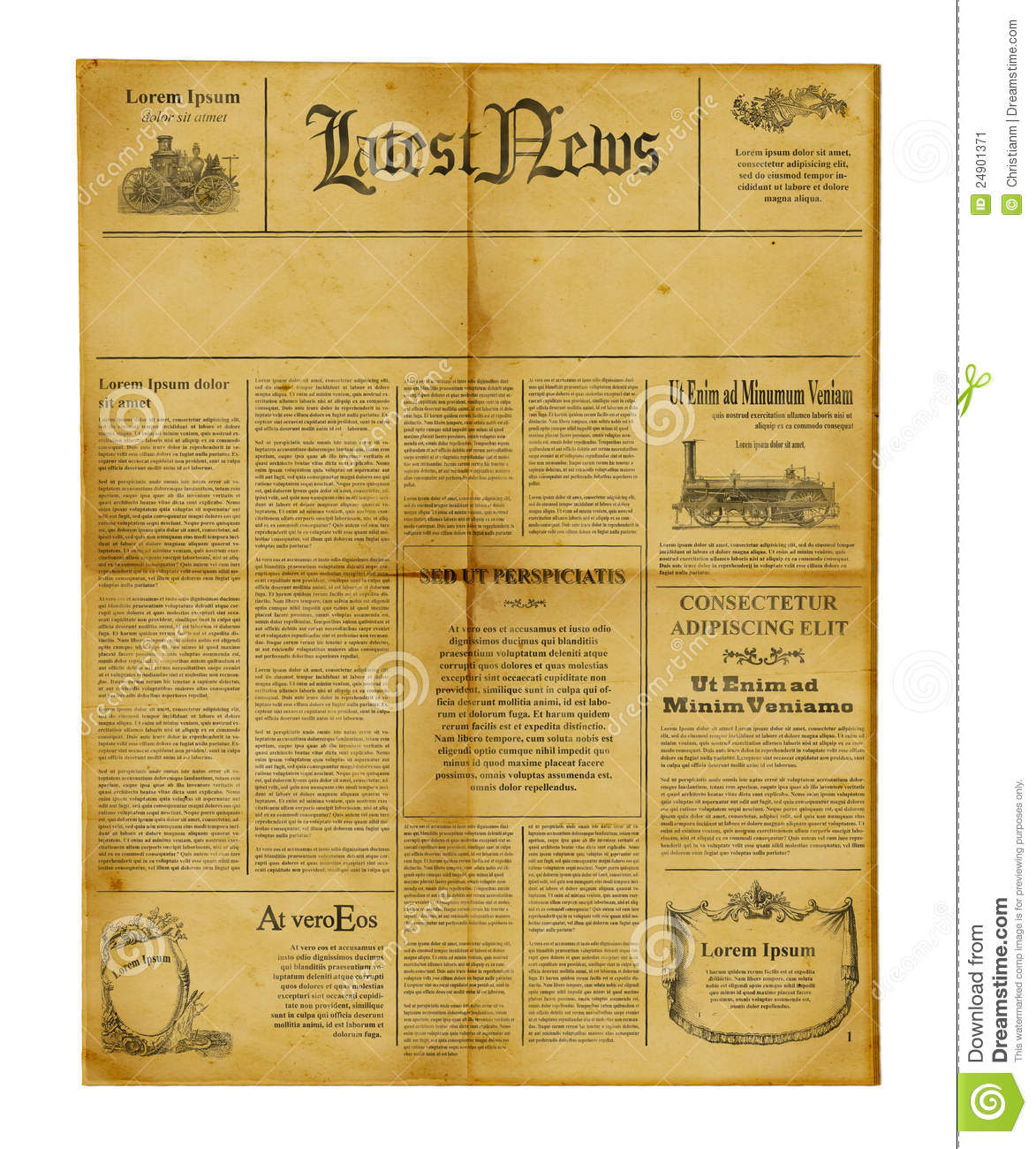 antique newspaper template stock image image of information 24901371
