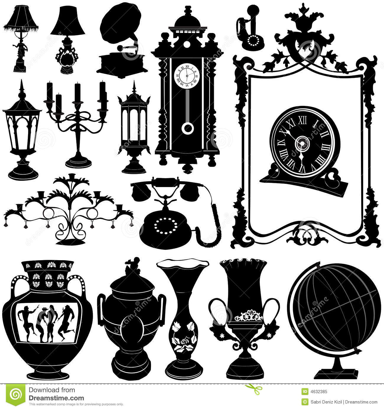 Antique Objects Vector Royalty Free Stock Photo Image