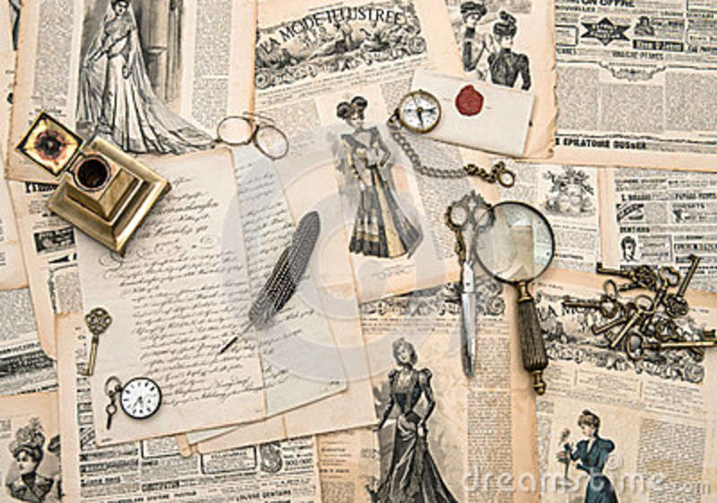Antique Office Accessories Writing Tools Vintage Fashion Magaz Stock Photo Image 45195126