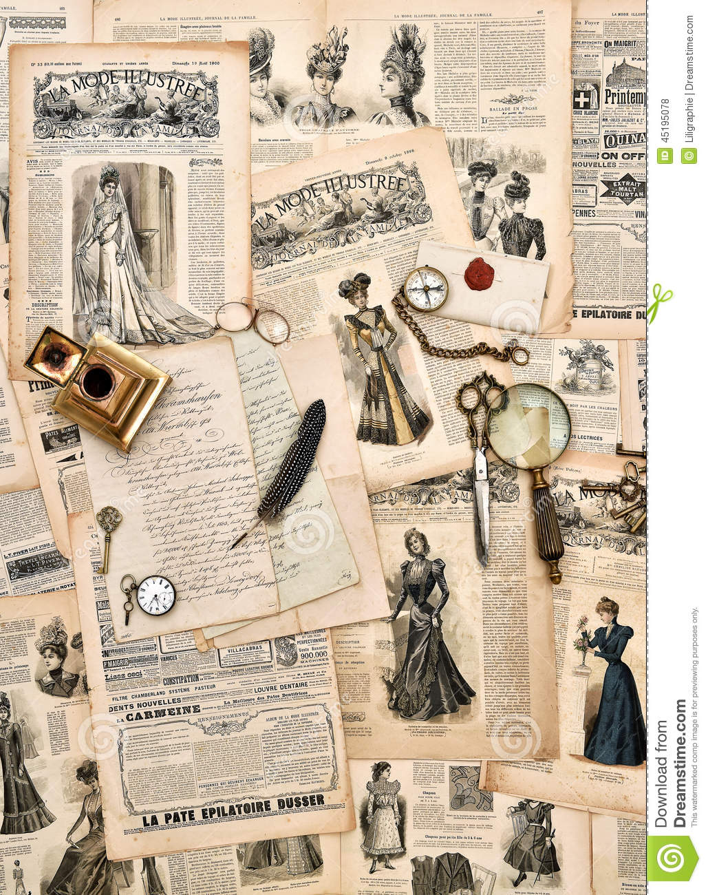 Antique Office Supplies Old Letters Writing Tools Vintage Fas Stock Photo Image 45195078