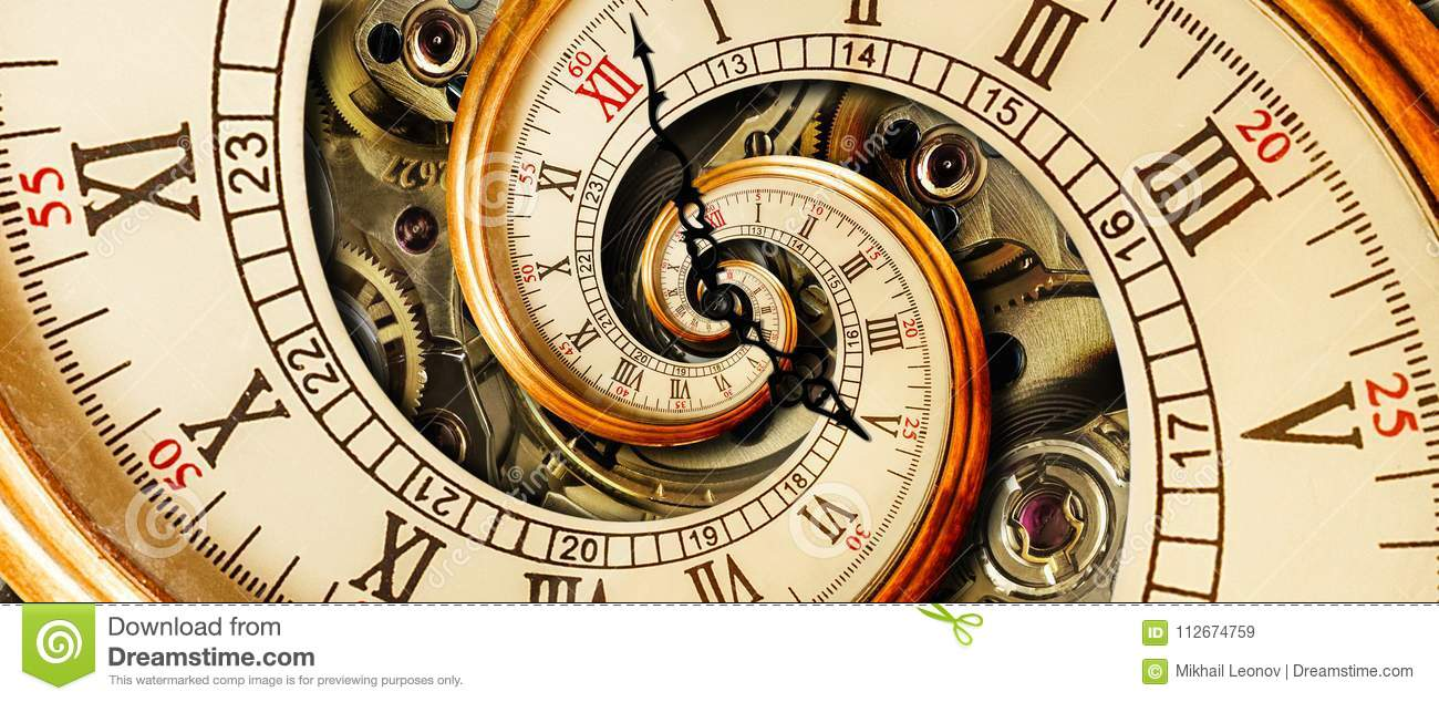 Golden yellow antique old clock spiral abstract fractal. Retro clock with mechanism in the background. Time spiral concept image