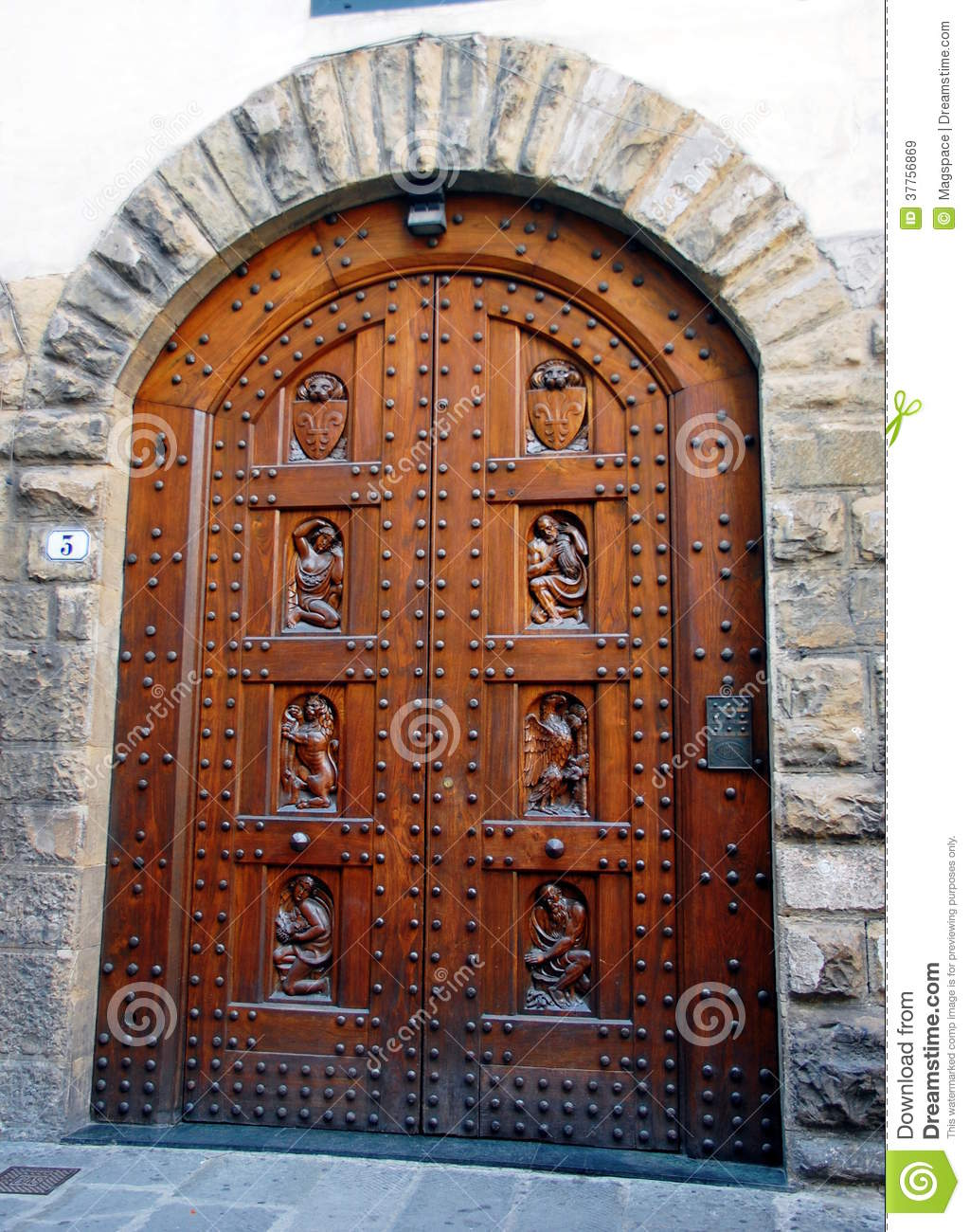 1300 #783A21 Beautiful Wooden Antique Door In Florence House Italy. image Beautiful Wooden Doors 46731024