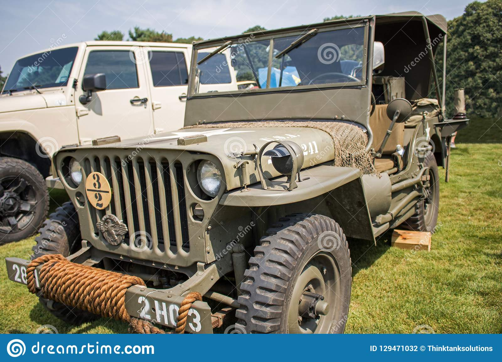 Antique Olive Drab Military Jeep