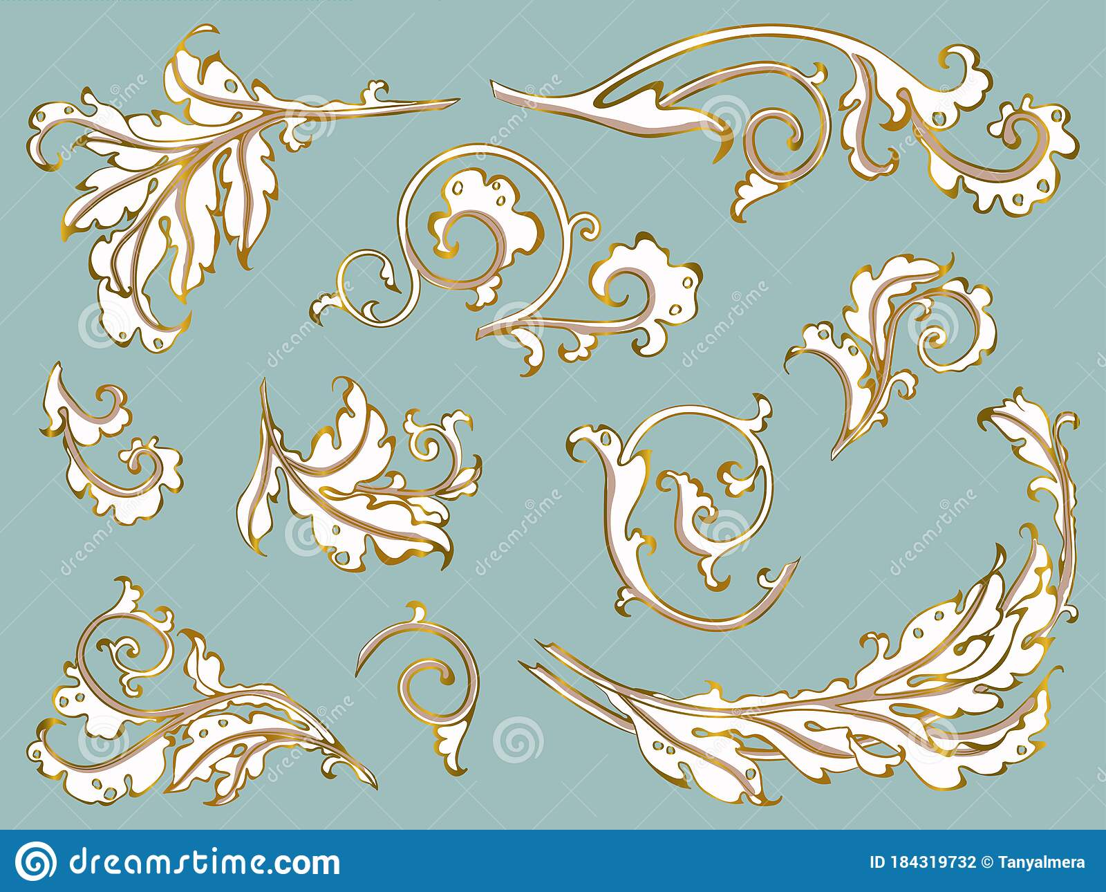 antique ornament in style baroque of acanthus leaves vector set gold on blue stock illustration illustration of frame monogram 184319732 antique ornament in style baroque of acanthus leaves vector set gold on blue stock illustration illustration of frame monogram 184319732