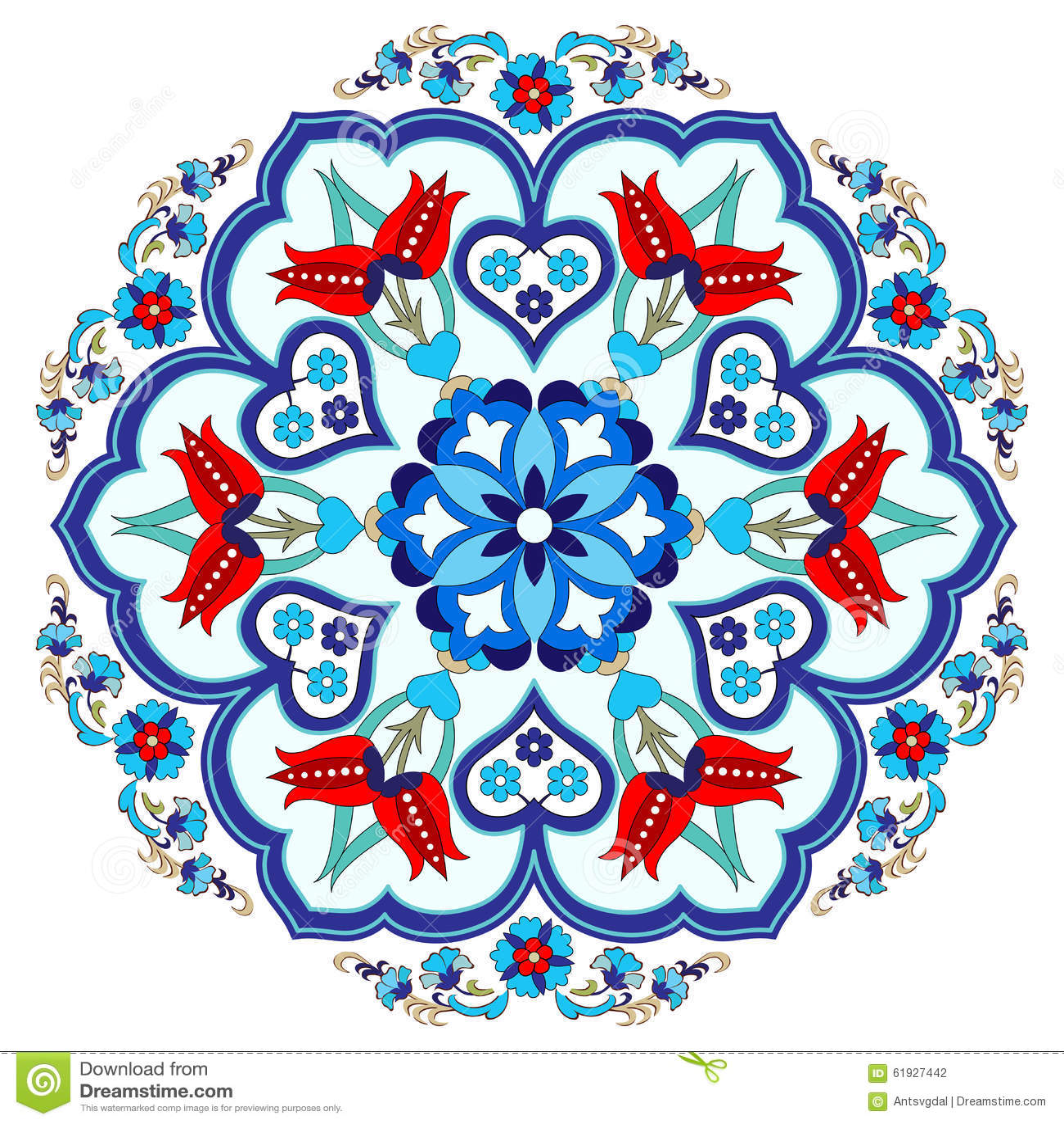 Antique Ottoman Turkish Pattern Vector Design Three Stock