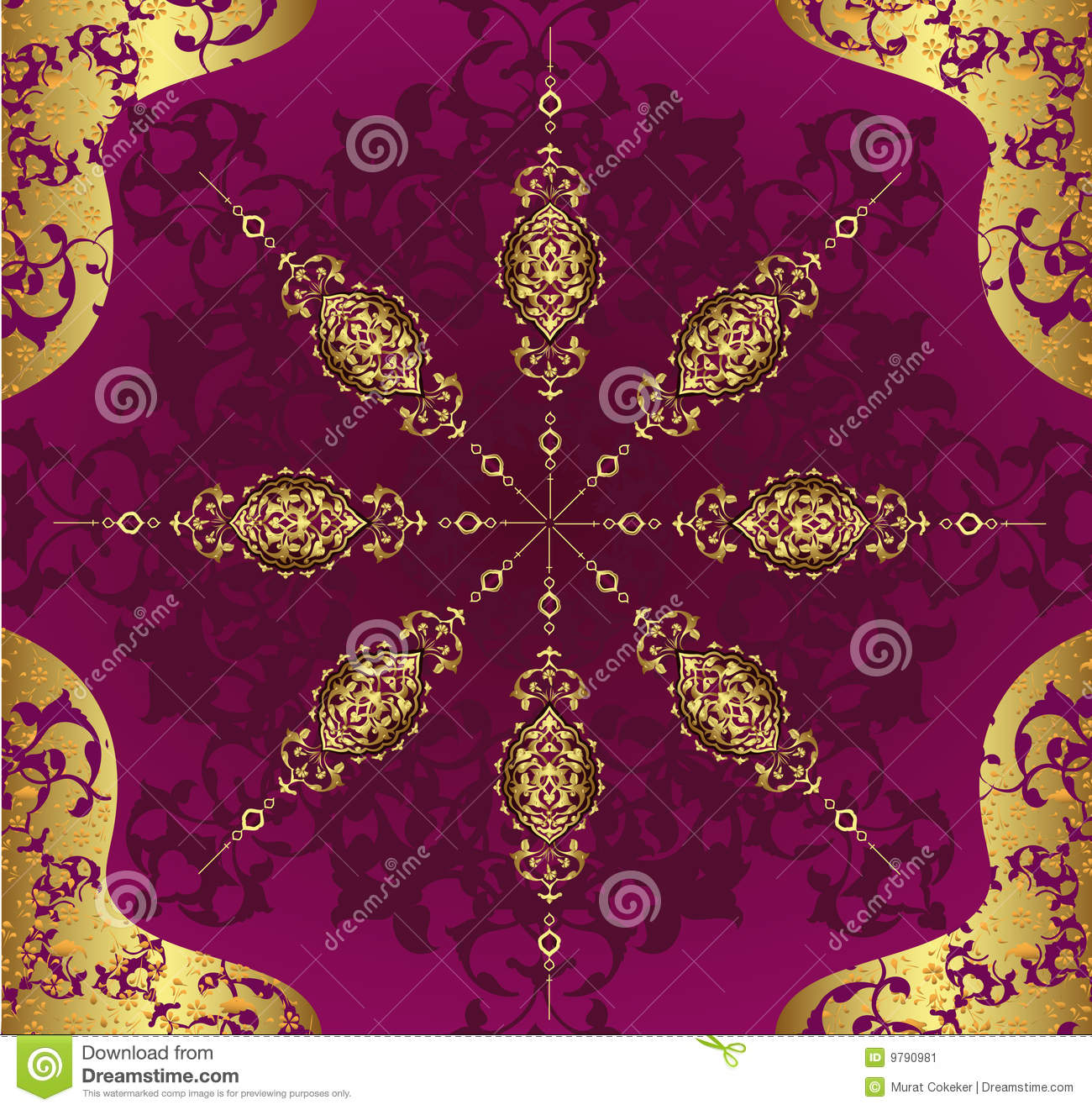 Turkish Design Wallpaper : Antique ottoman wallpaper illustration design stock image