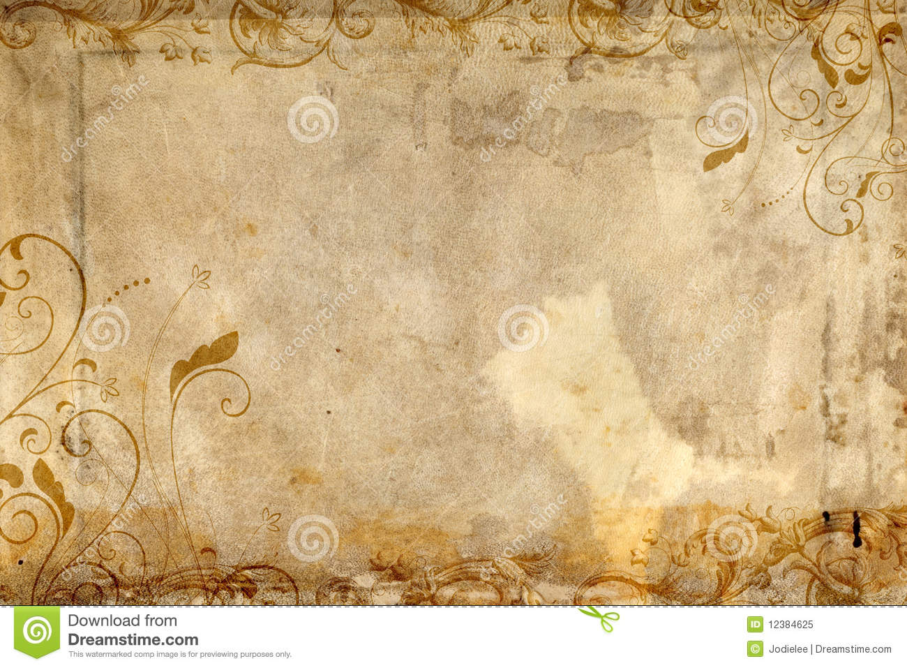 antique paper featuring flourish design royalty free stock