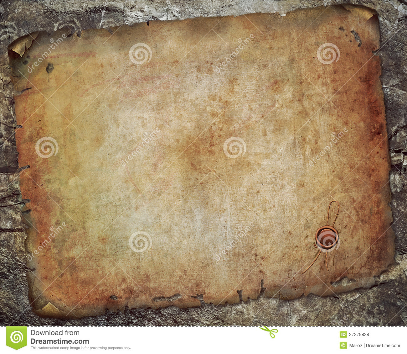Antique Scroll Paper: Antique Paper Scroll On The Wall Royalty Free Stock Photos