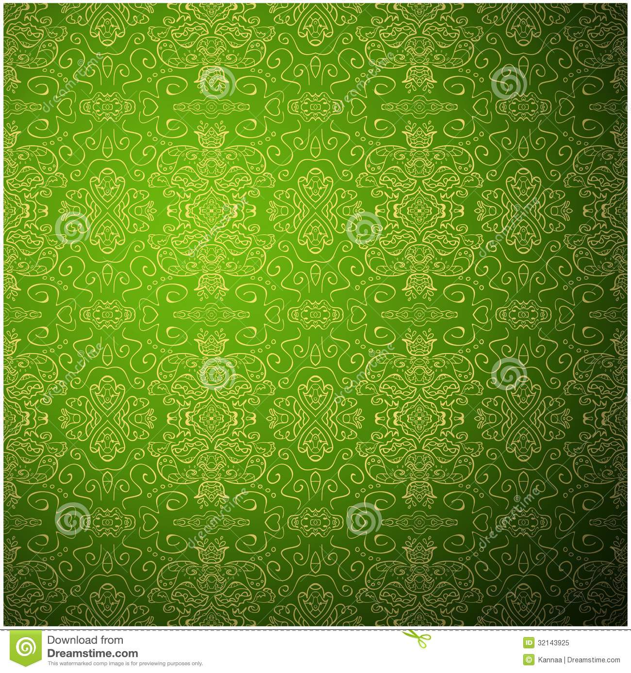 Vector Illustration Web Designs: Antique Pattern Background. Green Seamless Royalty Free