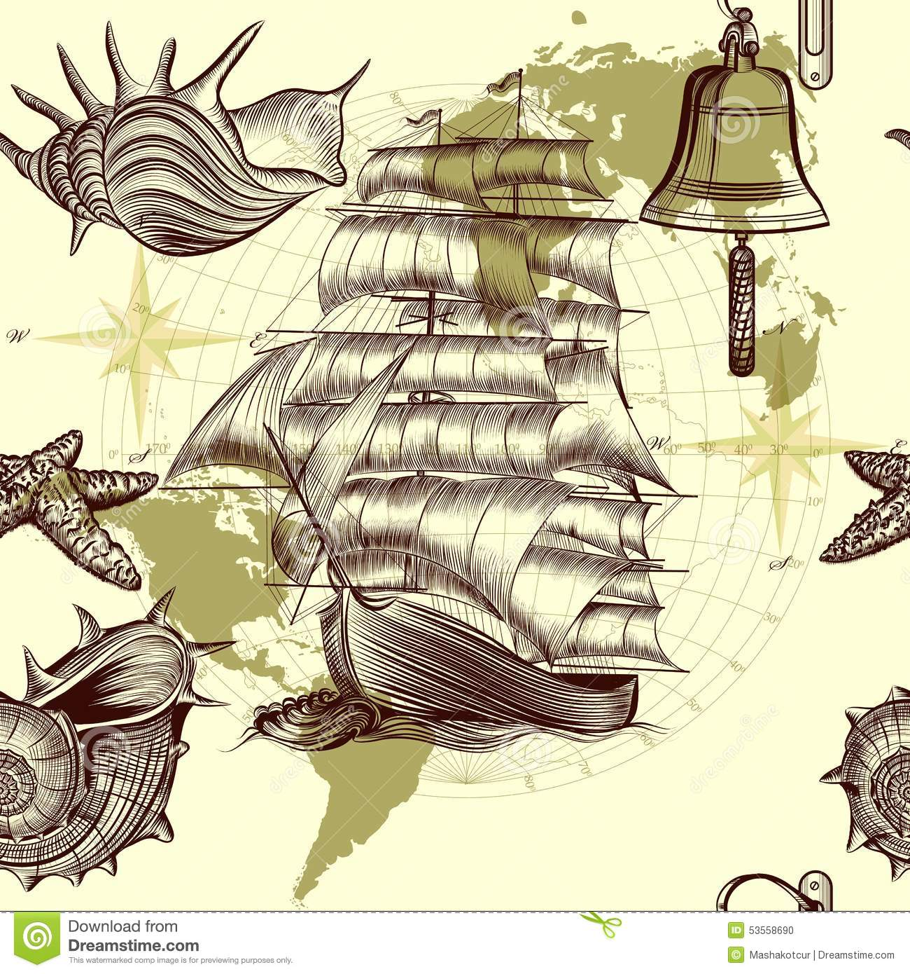 Wallpaper Map Design : Antique pattern with ship shells and map tripping theme