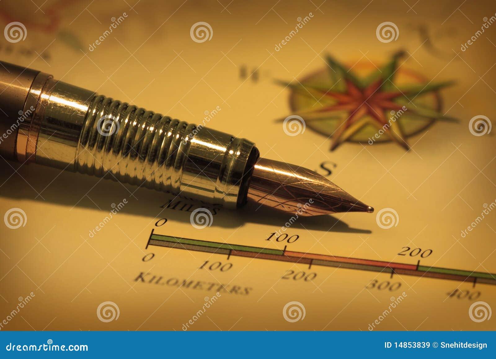 Antique pen on map