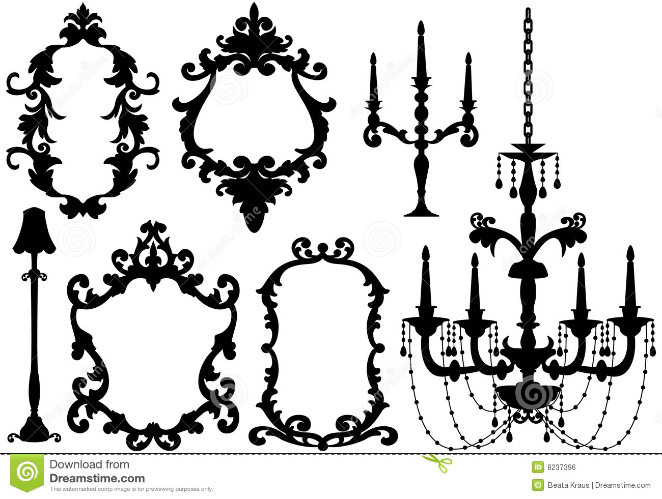 Antique Picture Frames And Chandelier Stock Vector Image