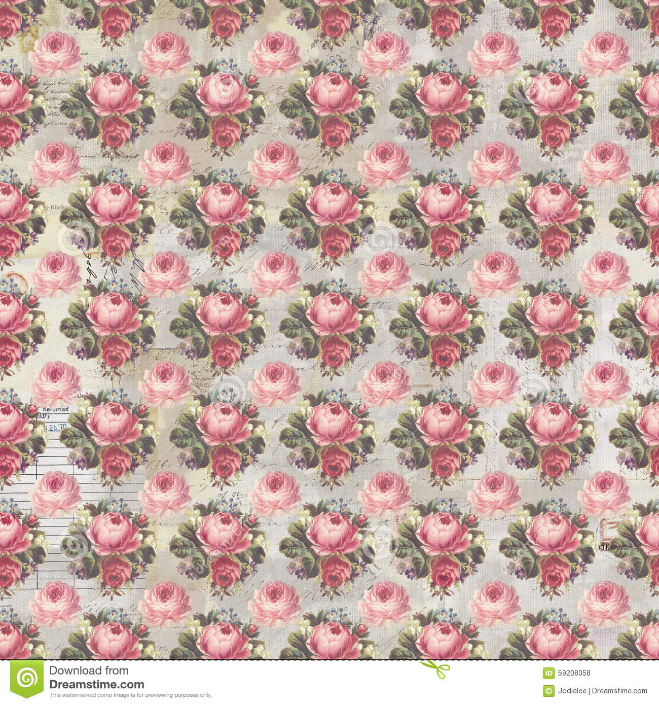 Antique pink and red shabby chic rose repeat pattern wallpaper