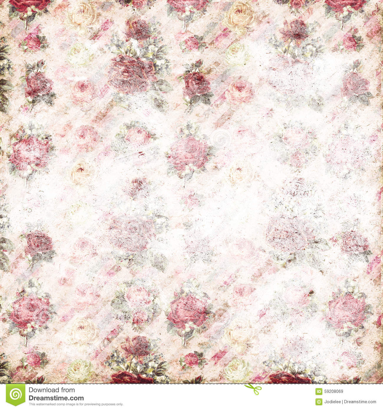 Antique pink and red shabby chic rose repeat pattern wallpaper stock photo - Papier peint shabby chic ...