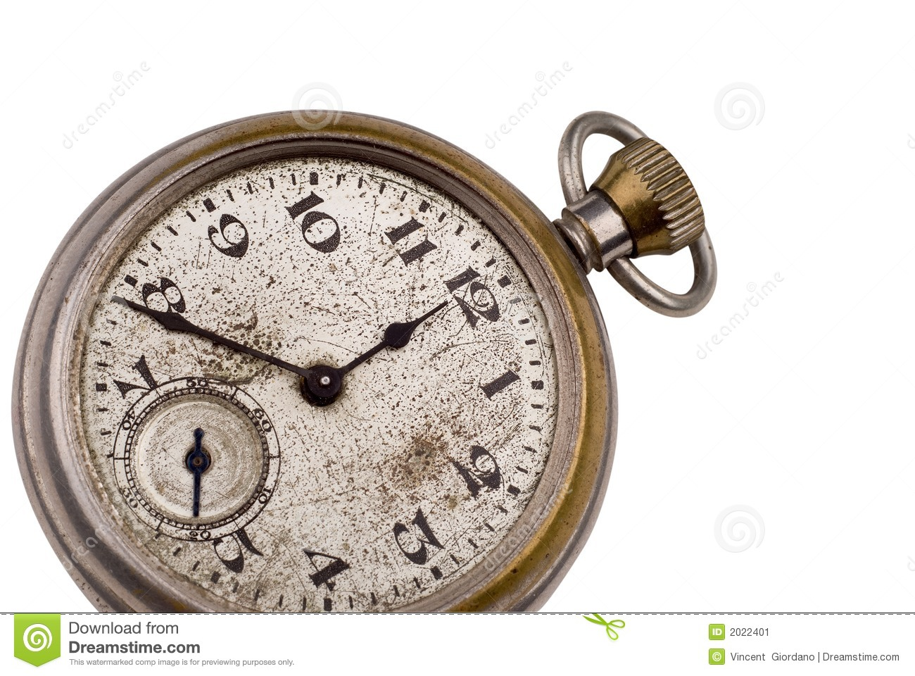 Antique pocket watch clock face isolated on white with a clipping path ...