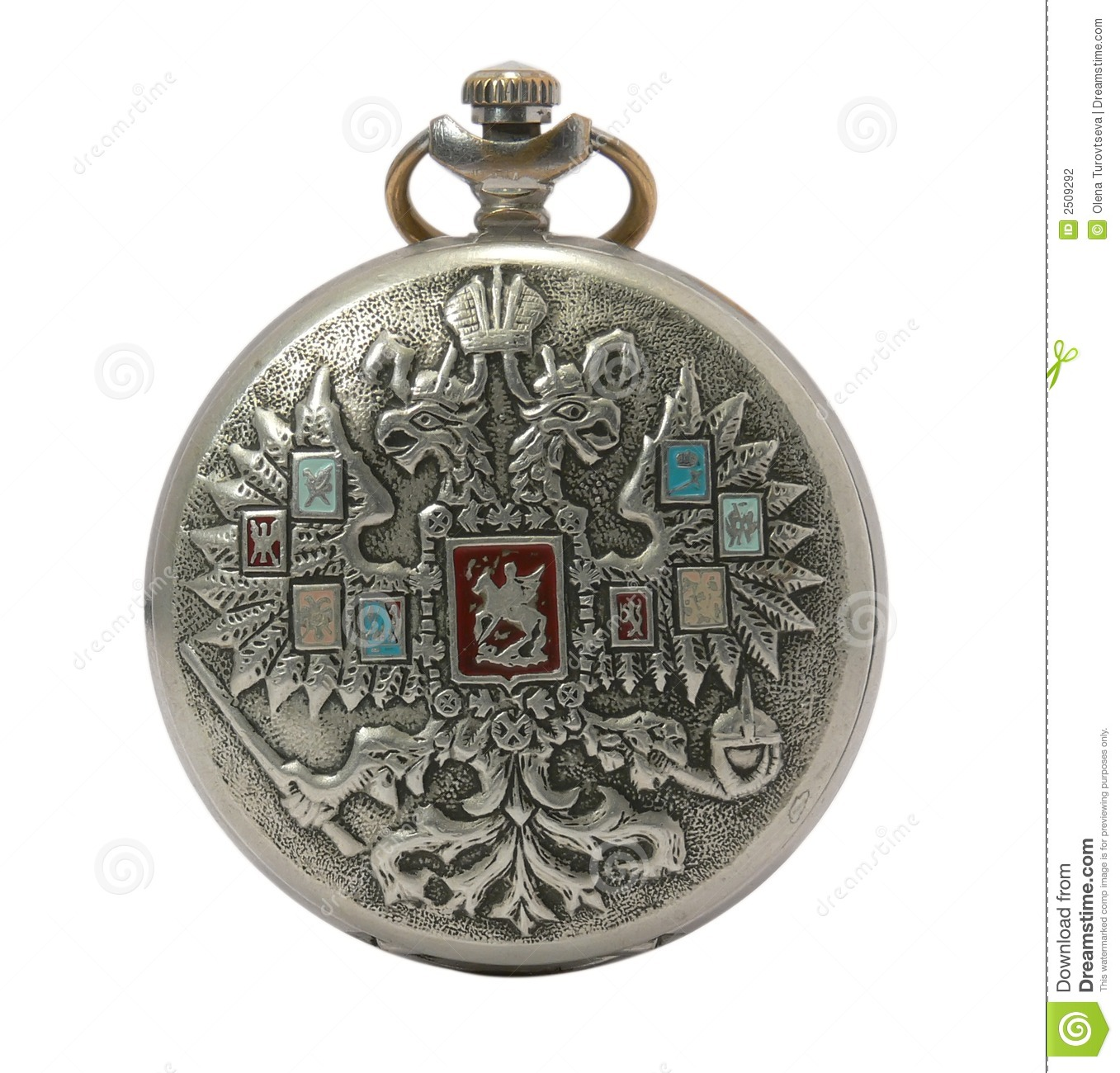 Russian silver antique pocket watch isolated on a white background.
